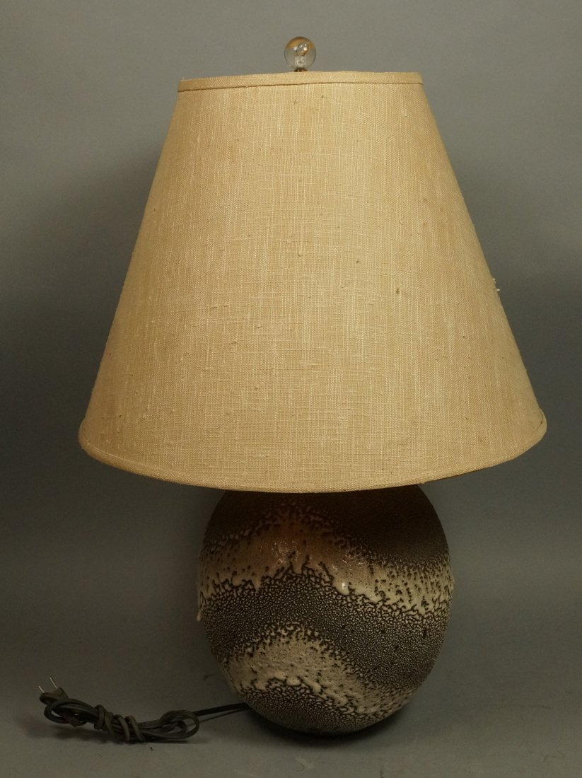 Lava Glazed Pottery Modern Table Lamp. Not marked - 2