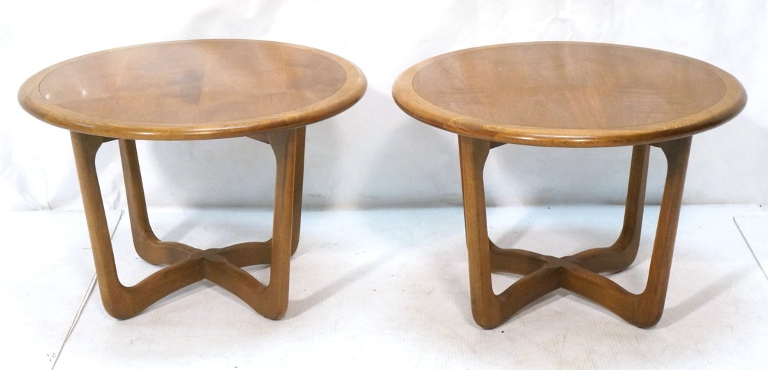 Pr LANE Round End Tables. Banded tops on open for