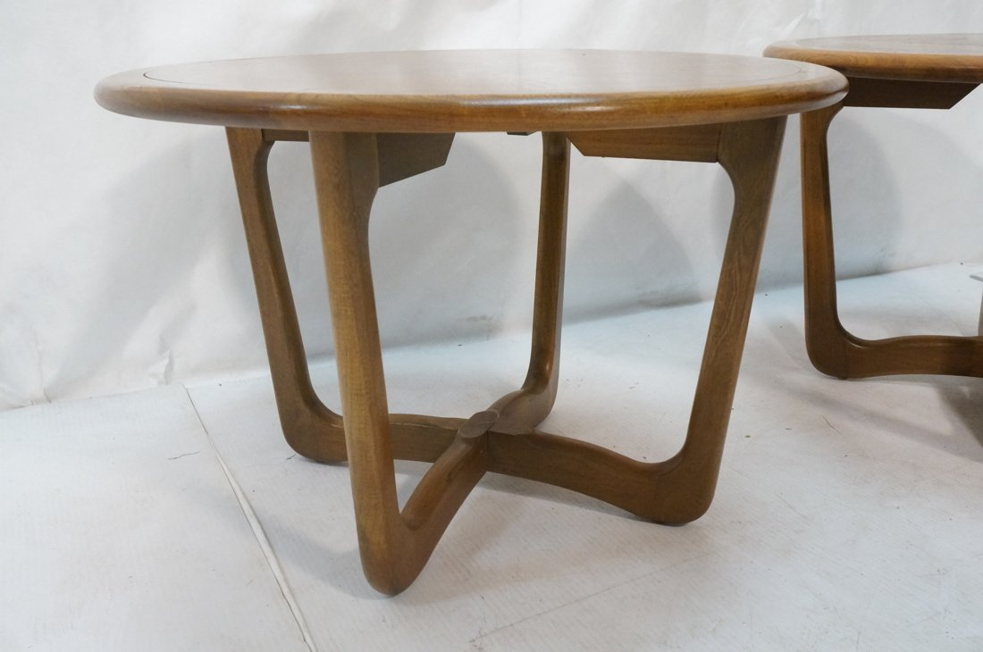 Pr LANE Round End Tables. Banded tops on open for - 4