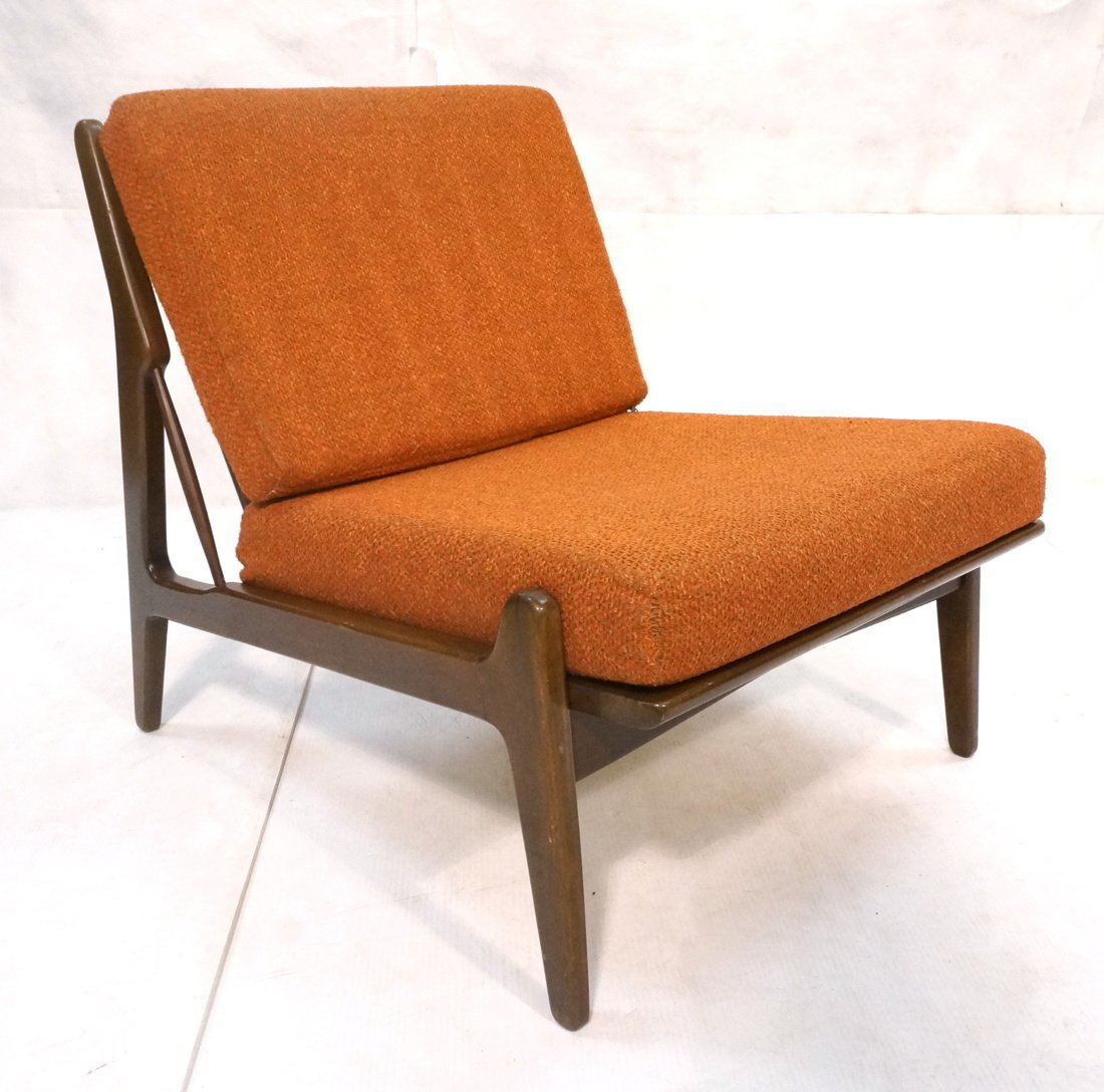 American Modern Lounge Chair. Burnt Orange Fabric