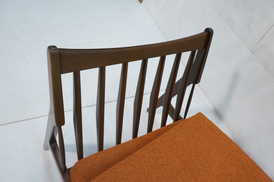 American Modern Lounge Chair. Burnt Orange Fabric - 3