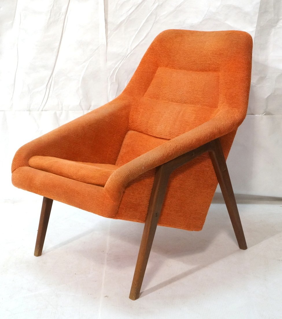 Modernist American Walnut Arm Lounge Chair. Rich