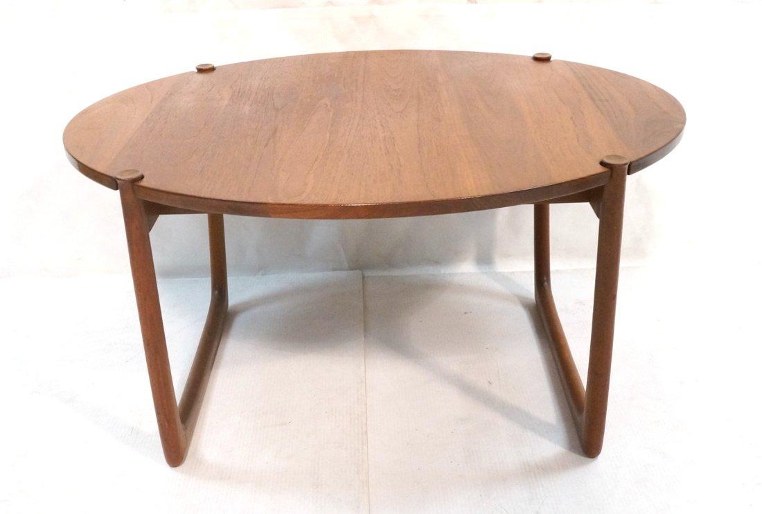 Round Walnut JOHN STUART Coffee Table. Shaped woo
