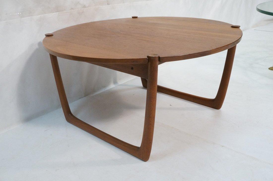 Round Walnut JOHN STUART Coffee Table. Shaped woo - 2