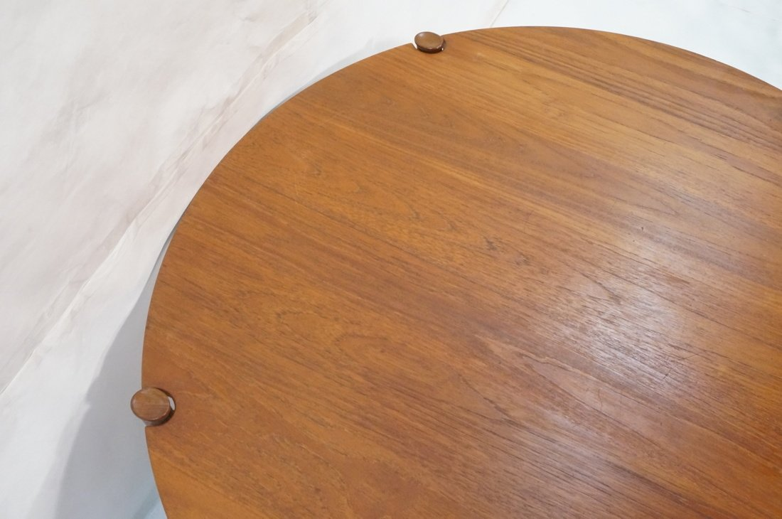 Round Walnut JOHN STUART Coffee Table. Shaped woo - 3