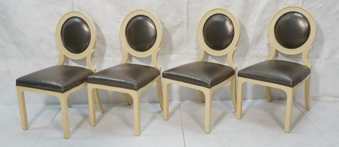 Set 4 Decorator Dining Chairs. Cream lacquer fram