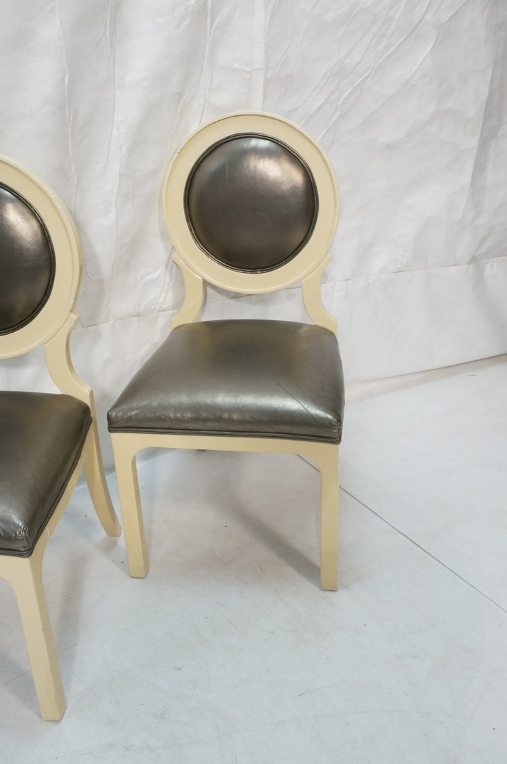 Set 4 Decorator Dining Chairs. Cream lacquer fram - 5