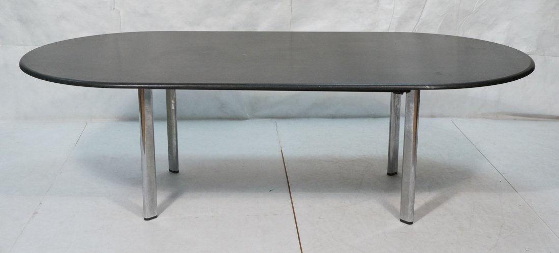 KNOLL Black Granite Oblong Dining Table. Chrome L