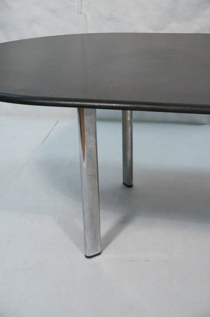KNOLL Black Granite Oblong Dining Table. Chrome L - 2