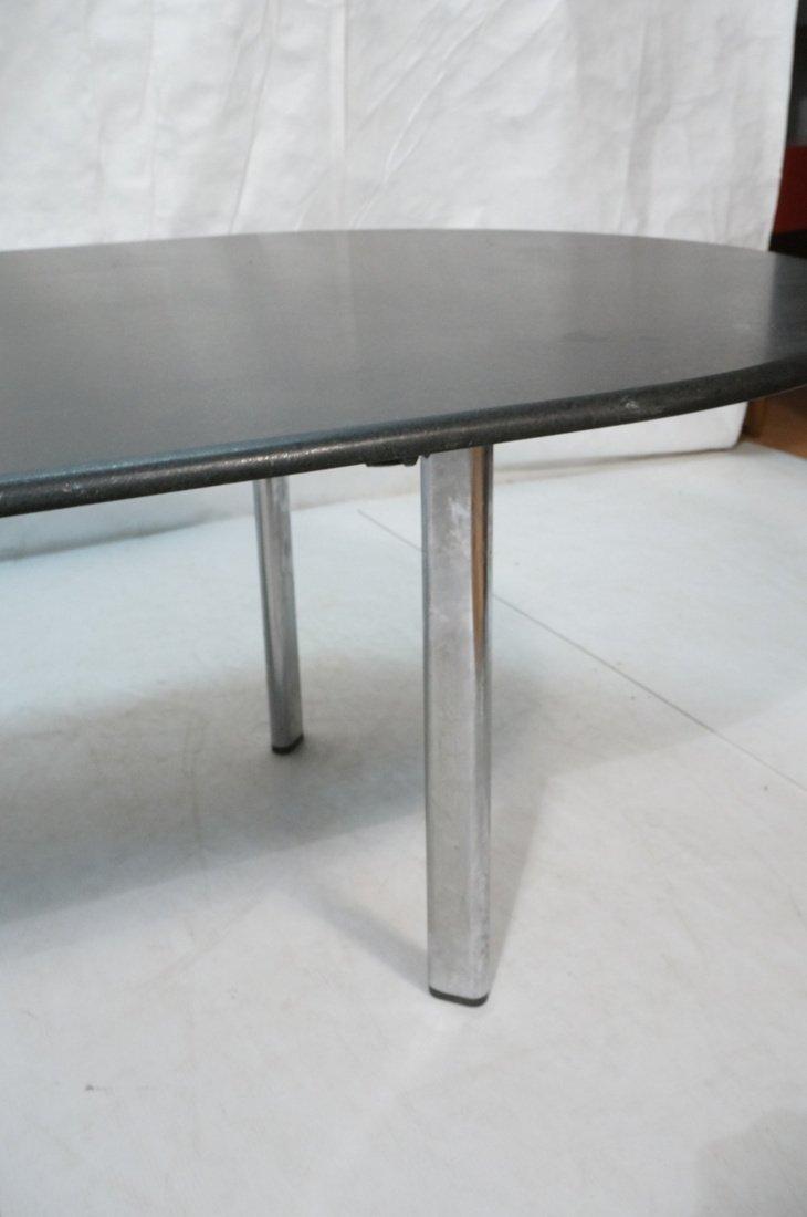 KNOLL Black Granite Oblong Dining Table. Chrome L - 5
