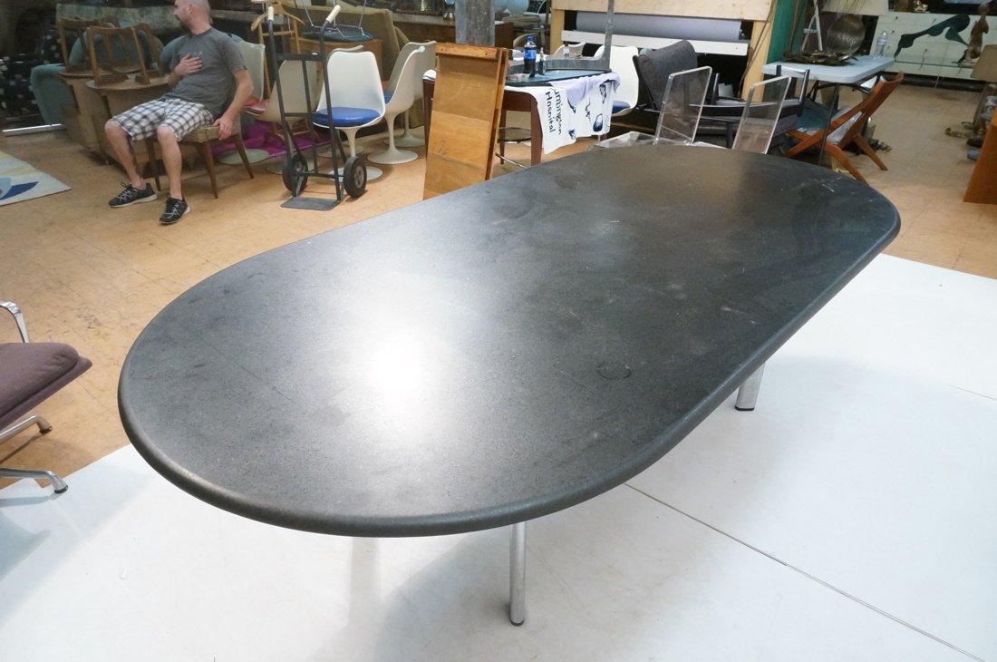 KNOLL Black Granite Oblong Dining Table. Chrome L - 6