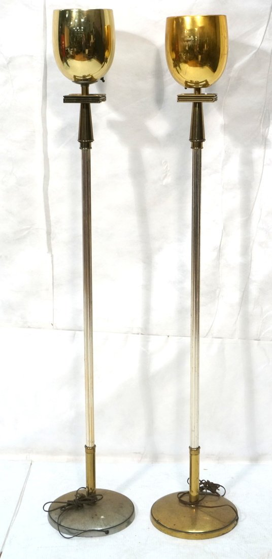Pr STIFFEL Brass tone Floor Lamps. Torchieres.