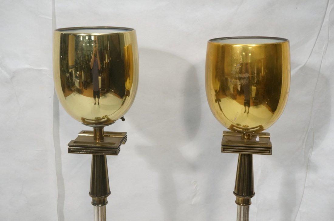 Pr STIFFEL Brass tone Floor Lamps. Torchieres. - 2