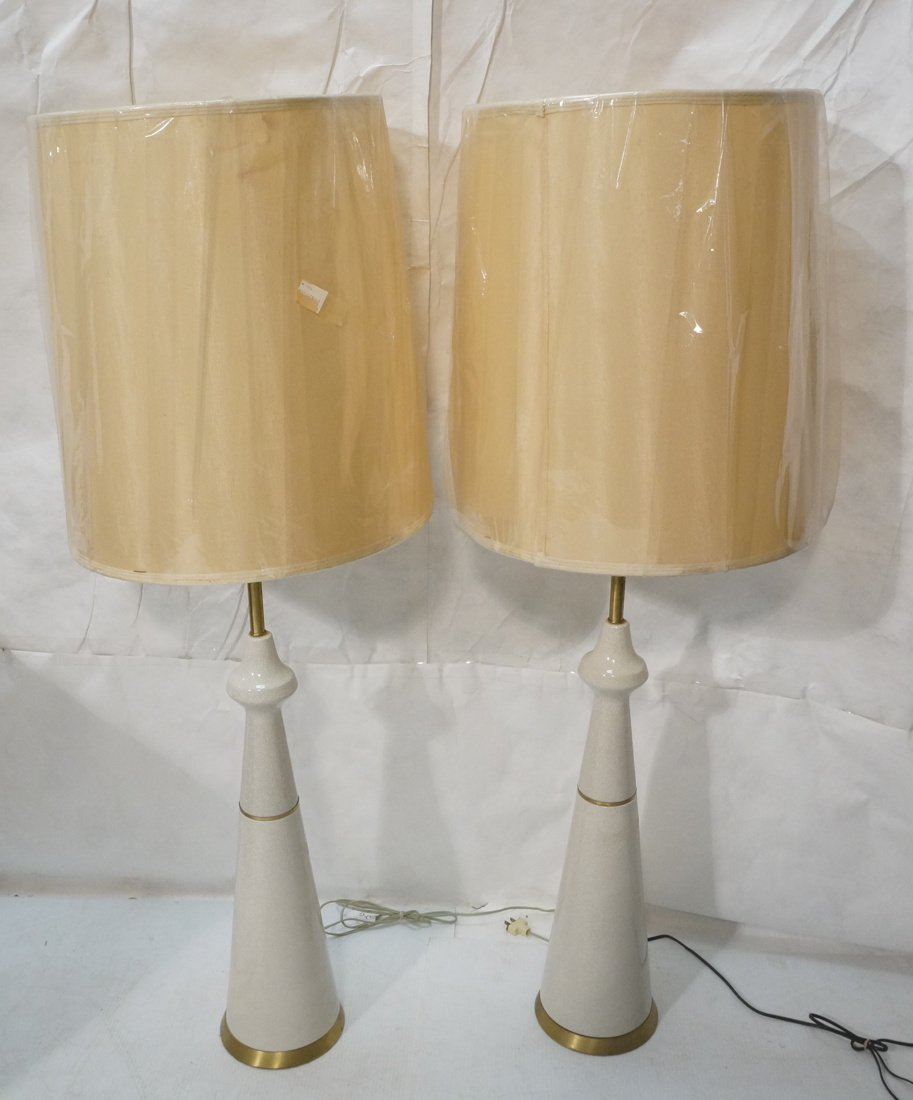 Pr Extra Tall Off White Ceramic Table Lamps. Mode
