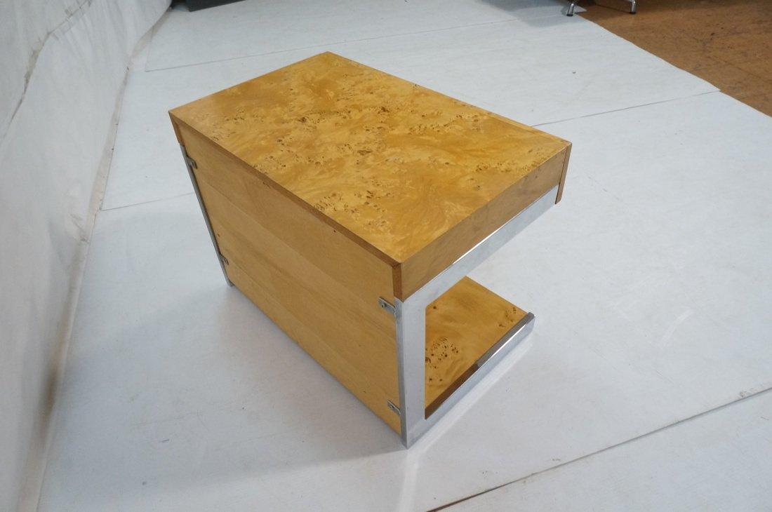 Burled Wood Chrome Trim One Drawer Night Stand. M - 4