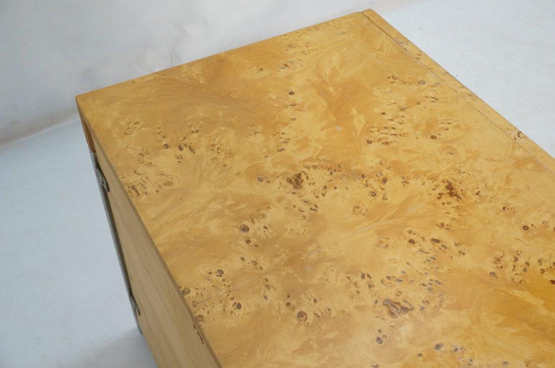 Burled Wood Chrome Trim One Drawer Night Stand. M - 6