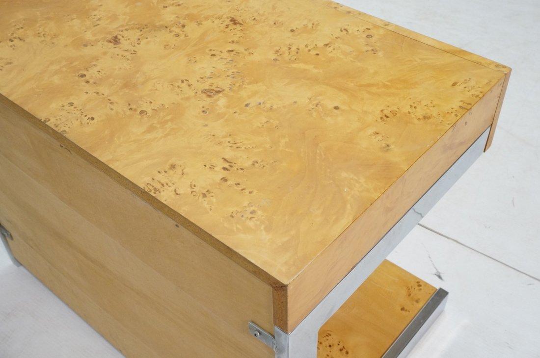 Burled Wood Chrome Trim One Drawer Night Stand. M - 7