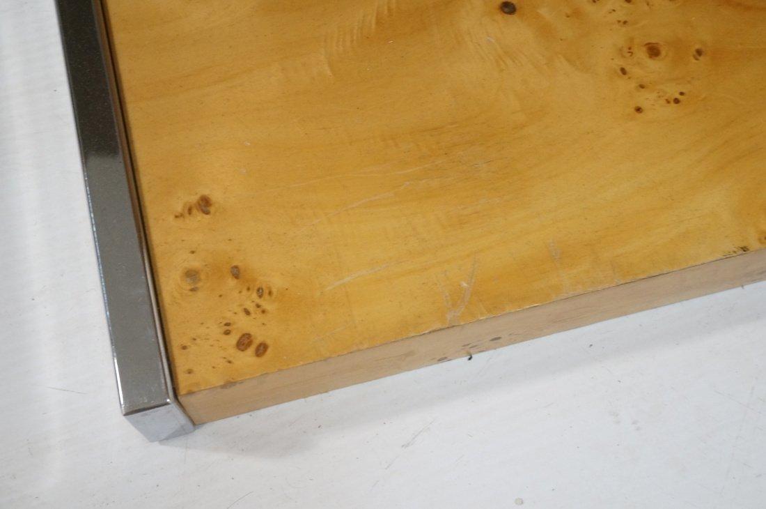 Burled Wood Chrome Trim One Drawer Night Stand. M - 8