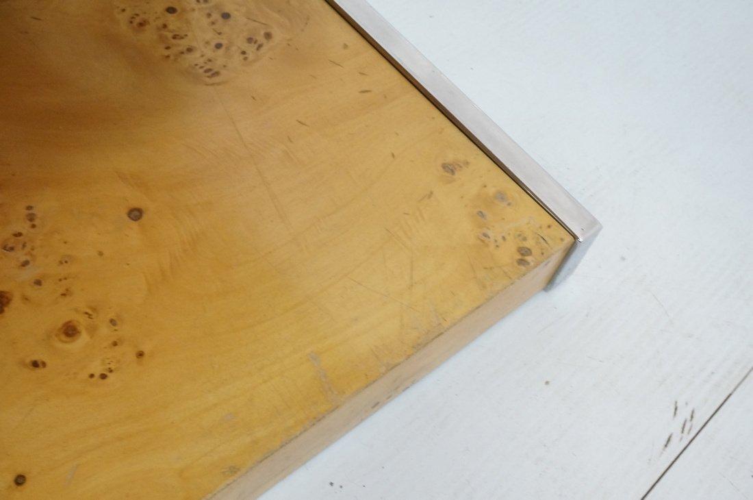 Burled Wood Chrome Trim One Drawer Night Stand. M - 9