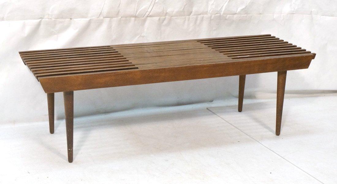 Dark wood Slat Bench Coffee Table. Modernist form