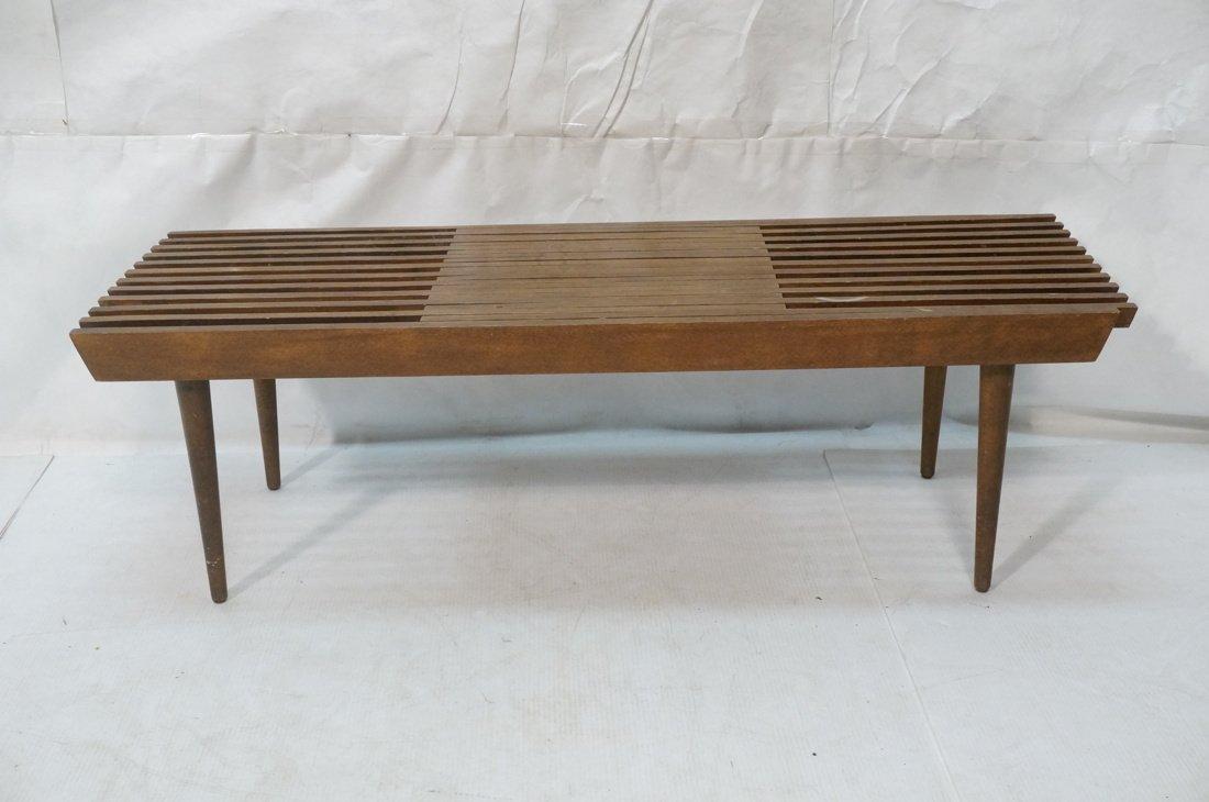 Dark wood Slat Bench Coffee Table. Modernist form - 2