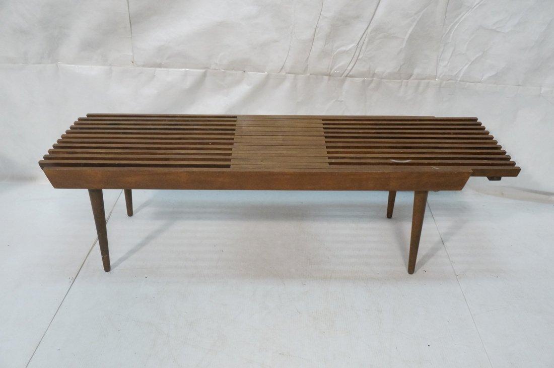 Dark wood Slat Bench Coffee Table. Modernist form - 3