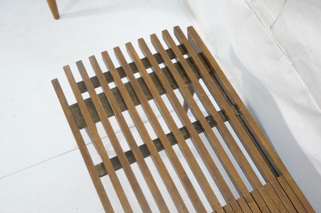 Dark wood Slat Bench Coffee Table. Modernist form - 4