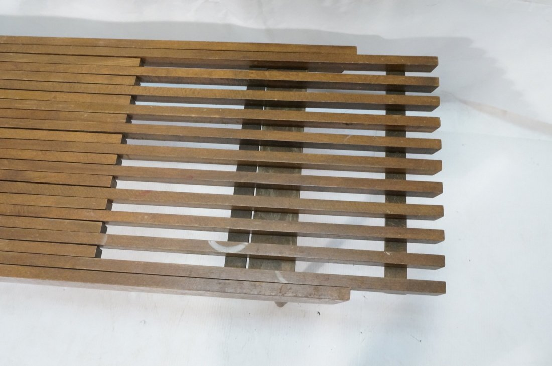 Dark wood Slat Bench Coffee Table. Modernist form - 6