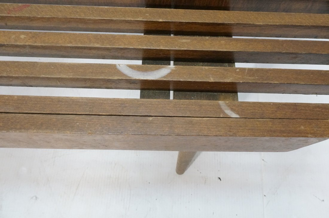 Dark wood Slat Bench Coffee Table. Modernist form - 7