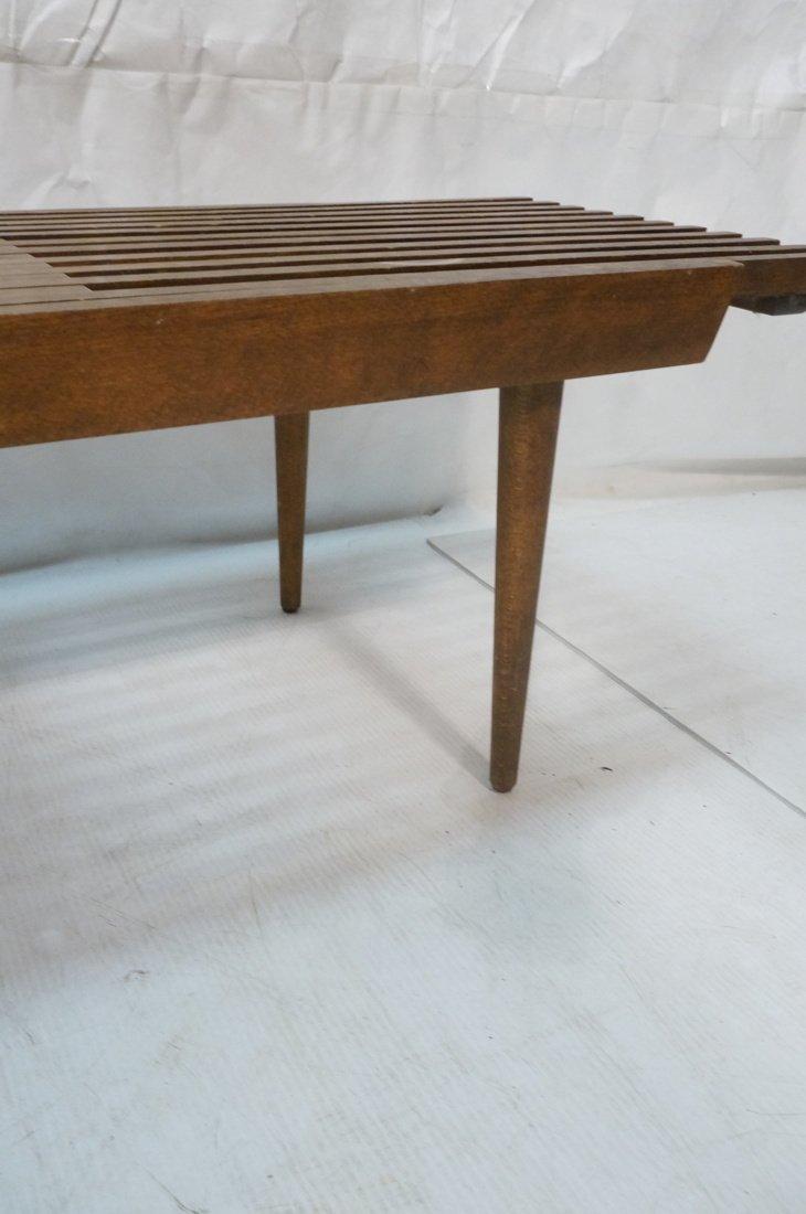 Dark wood Slat Bench Coffee Table. Modernist form - 8