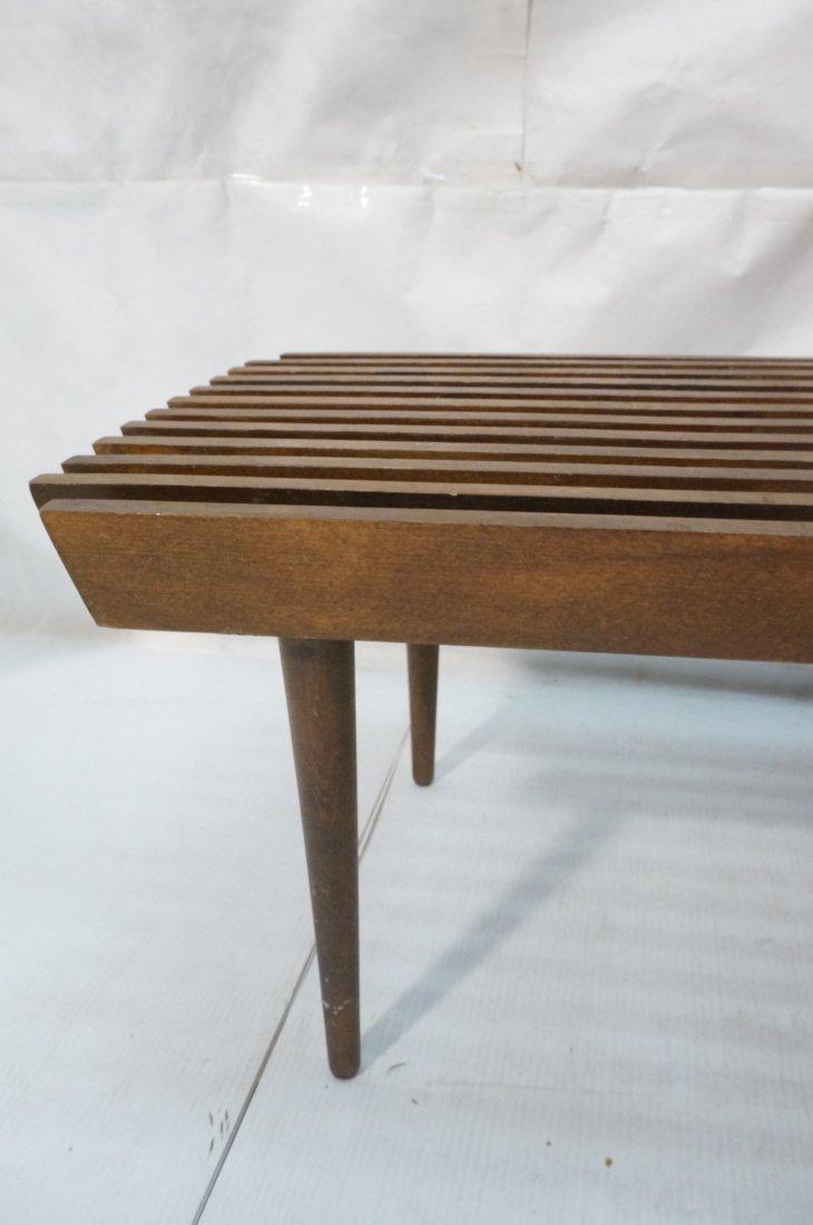 Dark wood Slat Bench Coffee Table. Modernist form - 9