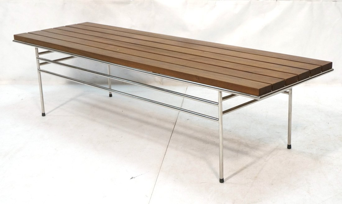 Walnut Slat Bench Coffee Table. Chrome frame base