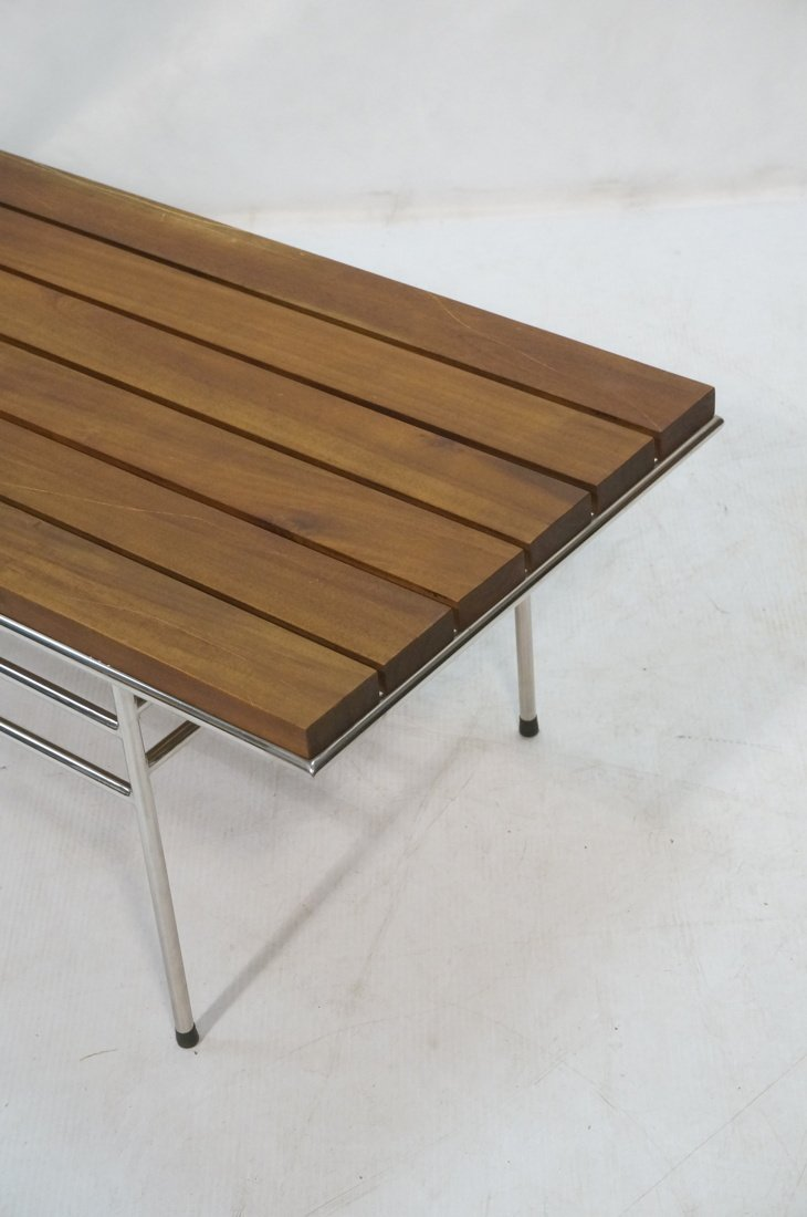Walnut Slat Bench Coffee Table. Chrome frame base - 2