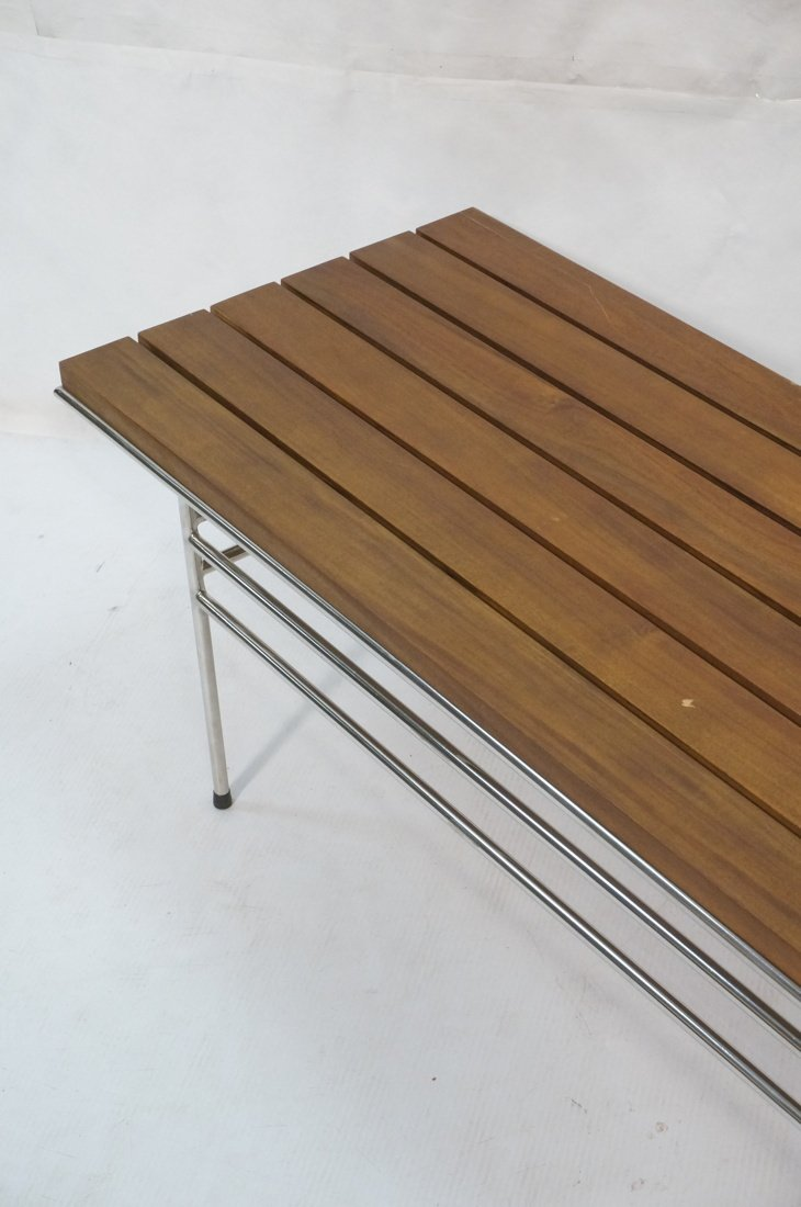 Walnut Slat Bench Coffee Table. Chrome frame base - 3