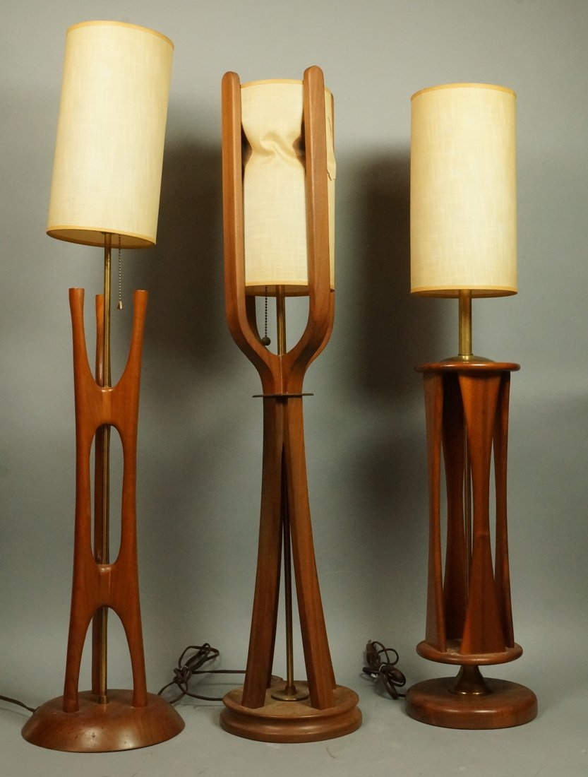 Lot Three American Walnut Table Lamps. Modernist
