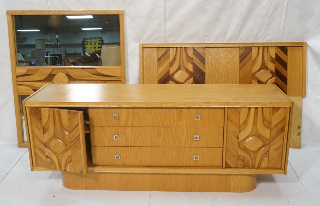 Modernist Dresser with Mirror. Raised on skirted