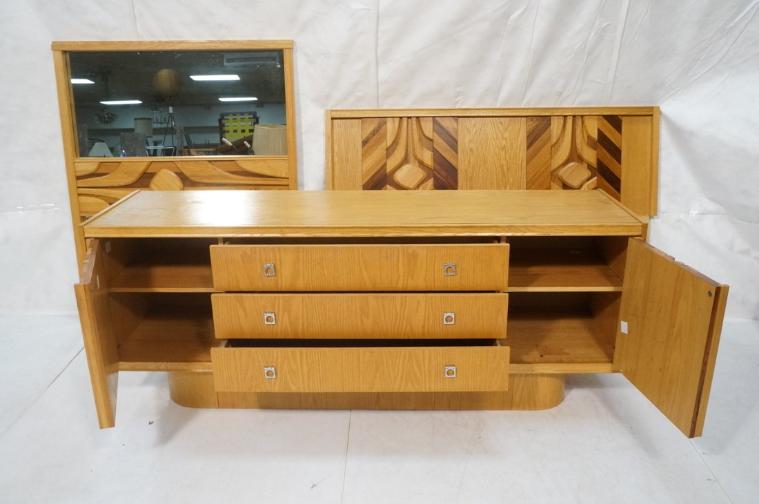 Modernist Dresser with Mirror. Raised on skirted - 2