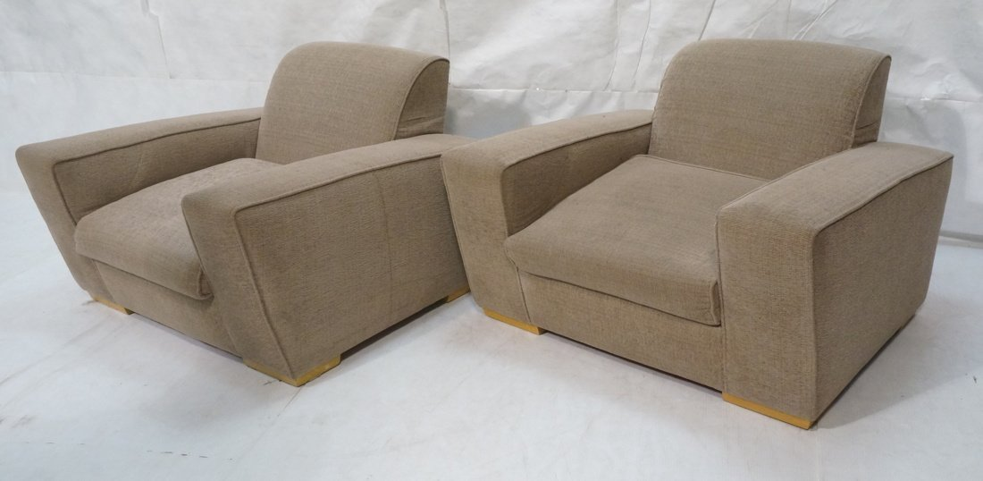 Pr Oversized Club Chairs. Modernist wide armed fo