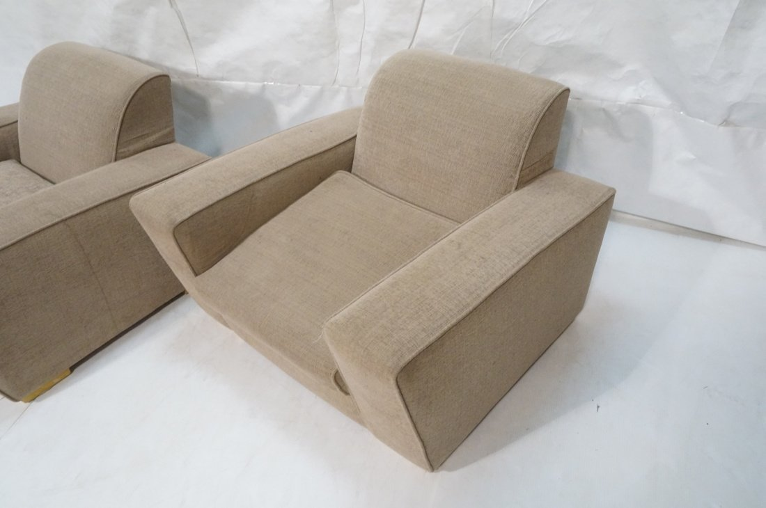 Pr Oversized Club Chairs. Modernist wide armed fo - 2