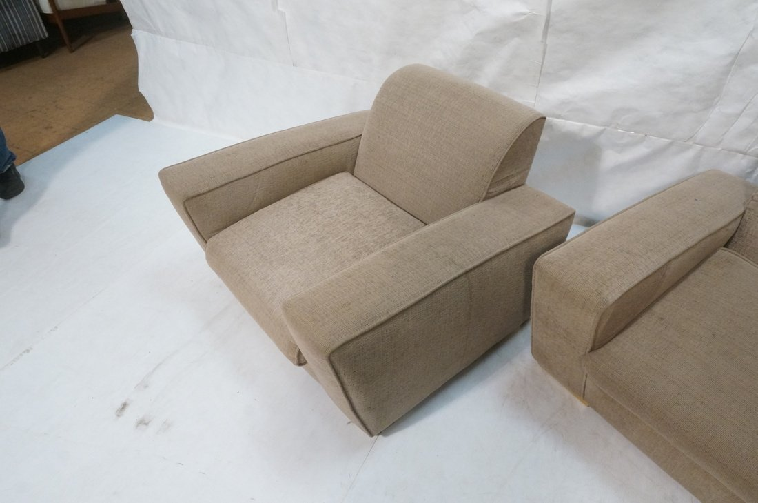 Pr Oversized Club Chairs. Modernist wide armed fo - 3