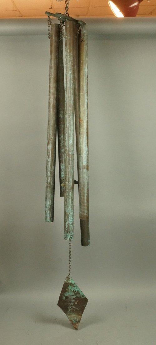 Large Hanging Metal Wind Chimes. Five Long Patina