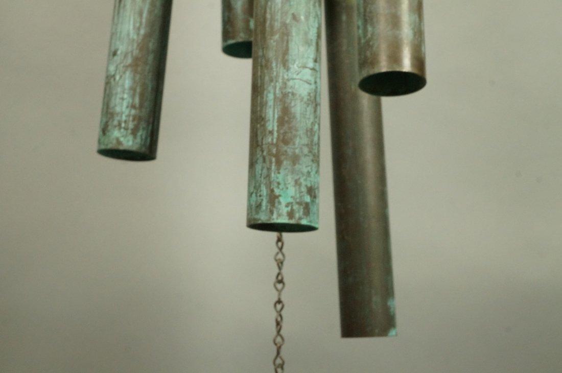 Large Hanging Metal Wind Chimes. Five Long Patina - 3
