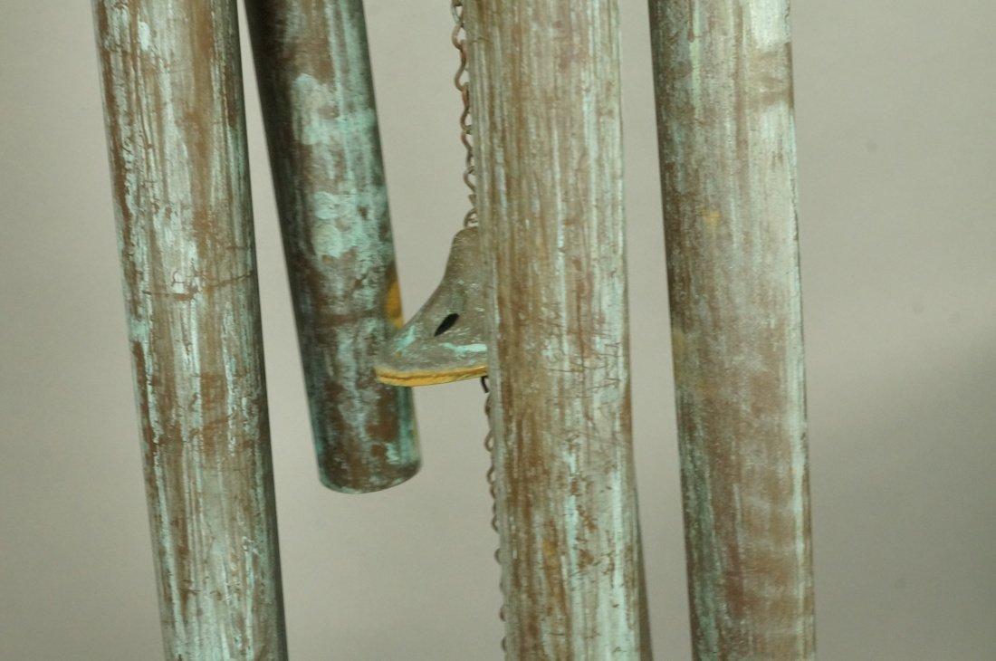 Large Hanging Metal Wind Chimes. Five Long Patina - 4