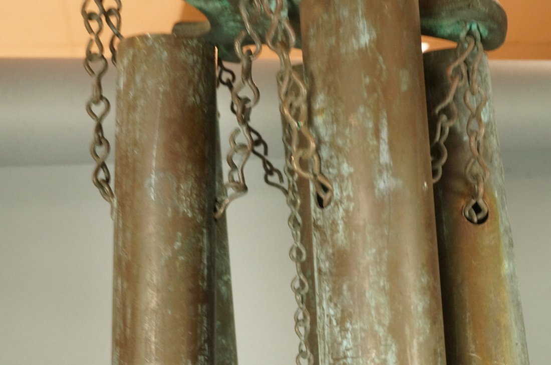 Large Hanging Metal Wind Chimes. Five Long Patina - 6