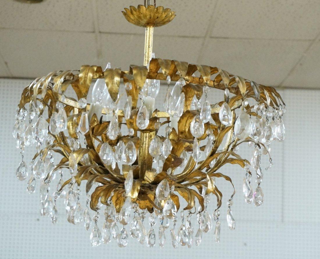 Vintage gilt metal & crystal prism hanging chande