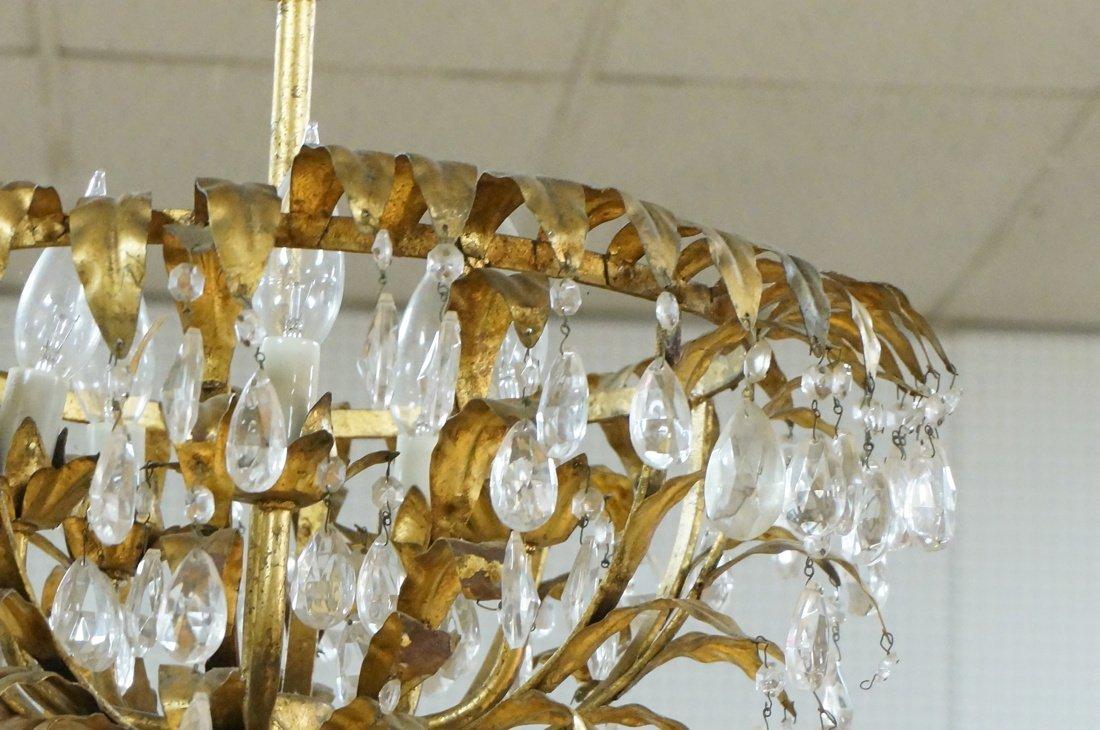 Vintage gilt metal & crystal prism hanging chande - 2