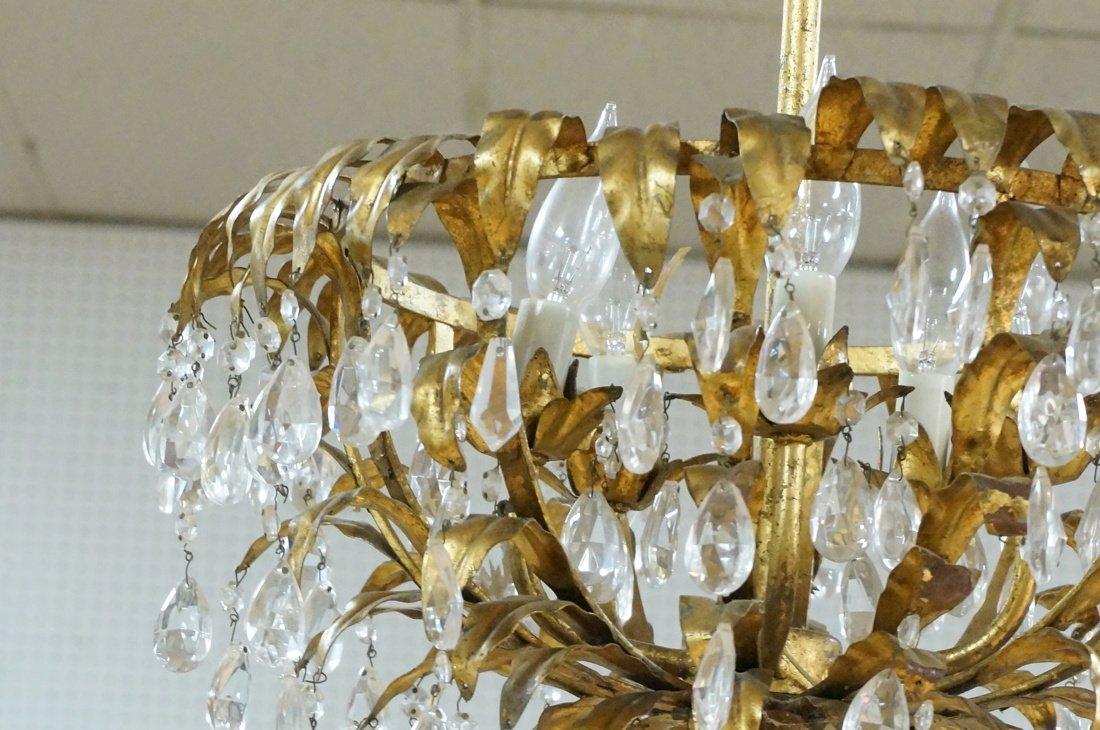 Vintage gilt metal & crystal prism hanging chande - 3