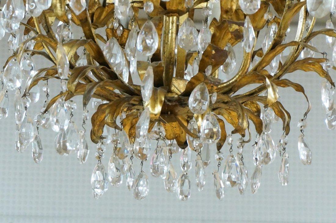 Vintage gilt metal & crystal prism hanging chande - 4