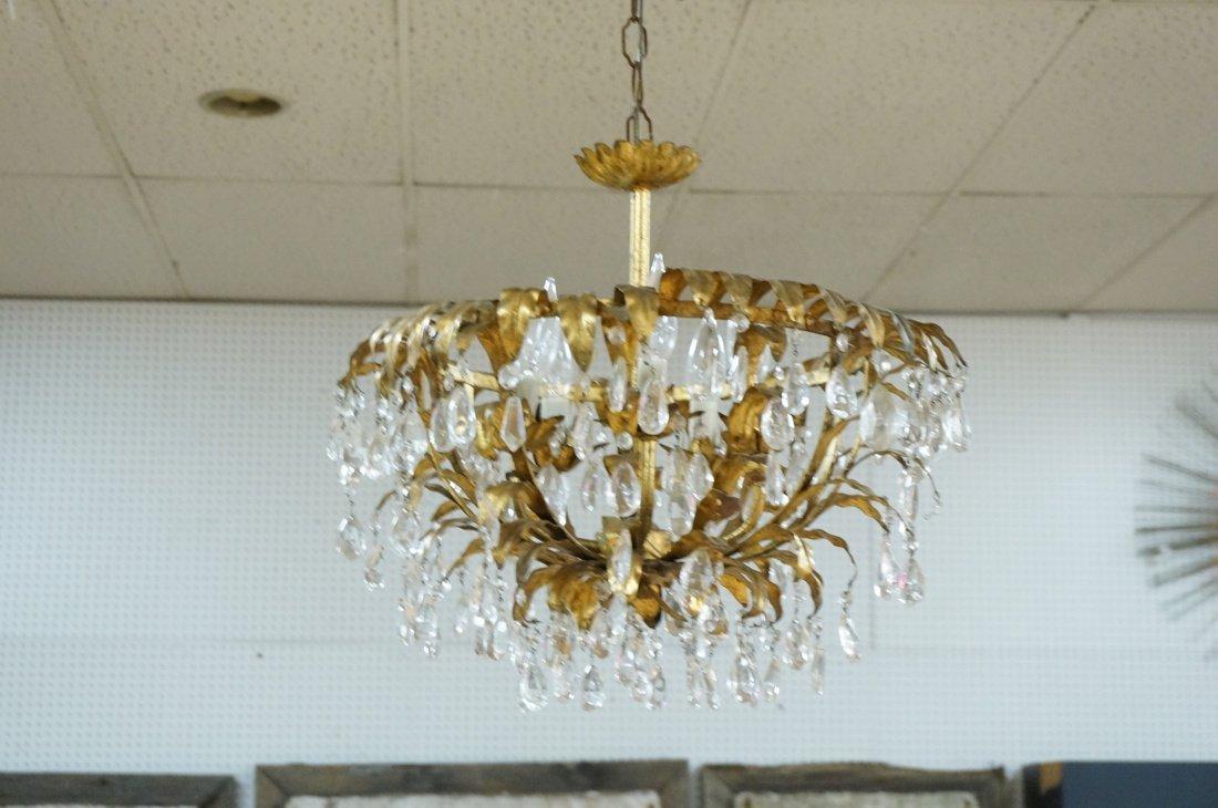 Vintage gilt metal & crystal prism hanging chande - 5