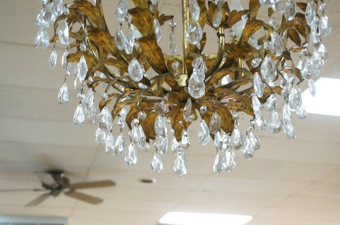 Vintage gilt metal & crystal prism hanging chande - 6